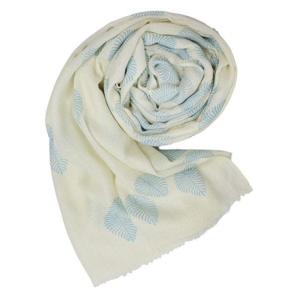 Rolled up fern scarf - pale blue little woodland fern on a white beautiful background, this woodland fern print cashmere shawl is the perfect accessory.