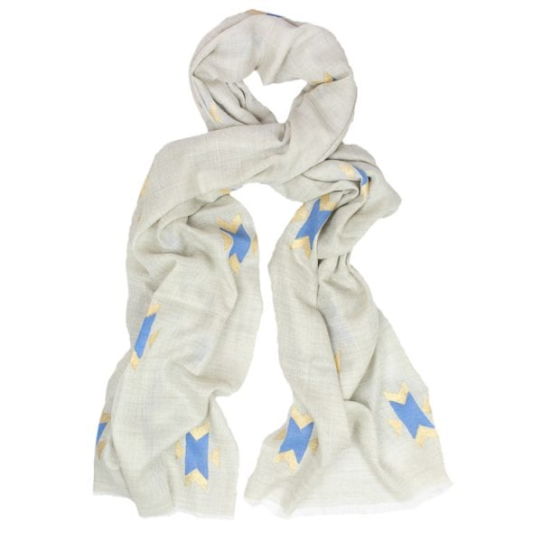 Buy Navajo scarves online. Cashmere scarf with hand block printed Navajo design in a kingfisher blue with gold on a neutral background.