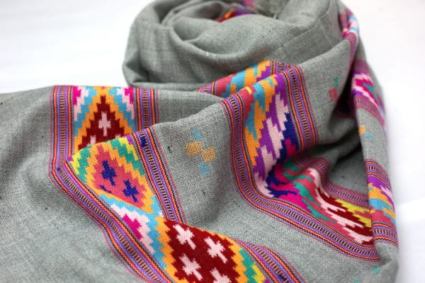 Grey scarf with traditional colourful block weave