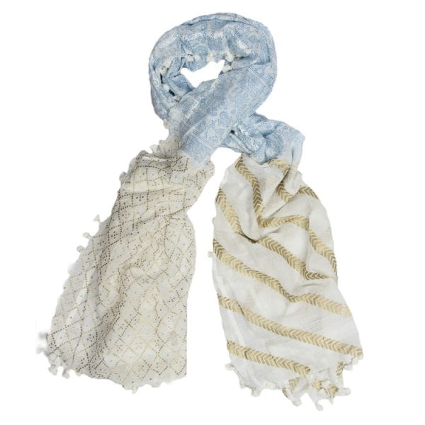 The fairy tales scarf will bring your story to life! Stunning hand woven & hand printed in gold & blues, made with a blend of cotton & silk.