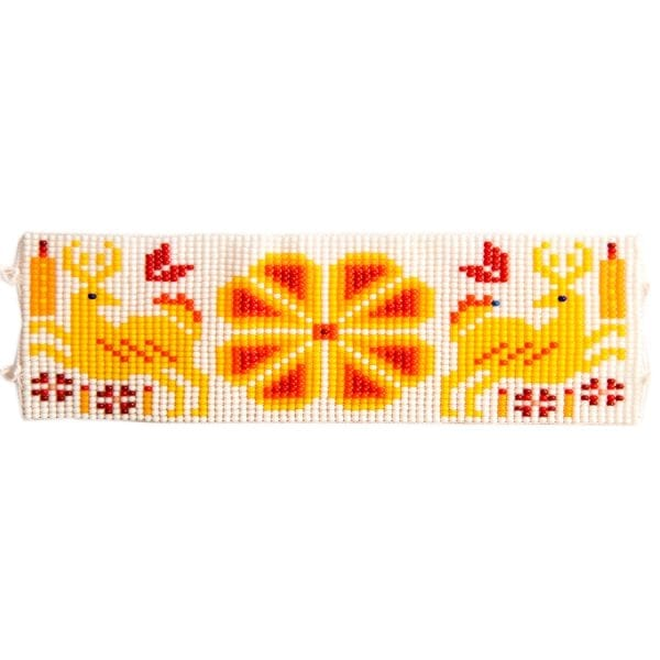 Yellow flat beaded Huichol bracelets with traditional symbols and patterns. Made by local artisans, buy fair trade mexican jewellery bracelets online. From Beshlie Mckelvie.