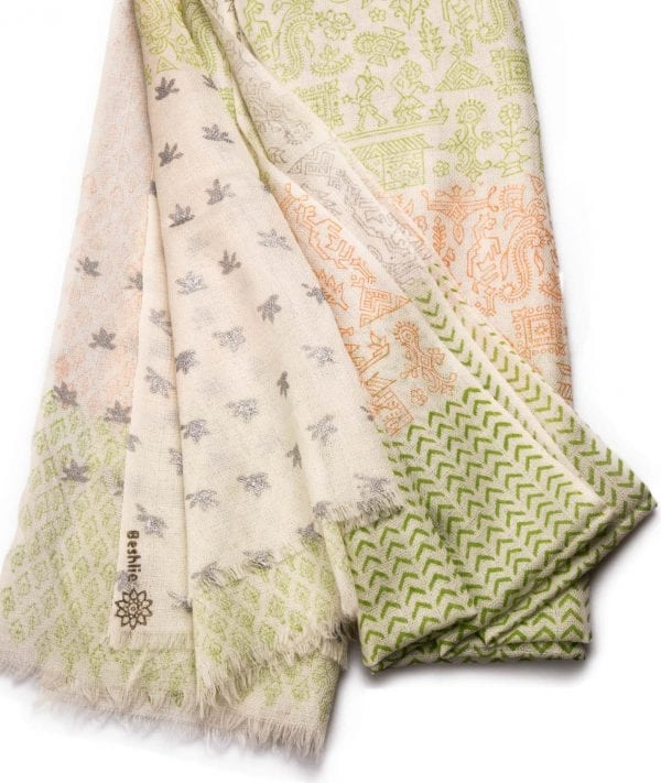 Close up detail of block printed Warli cashmere shawl in a beautiful range of colors on a white base. An easy to wear shawl for all occasions. Pair with your favorite outfit.