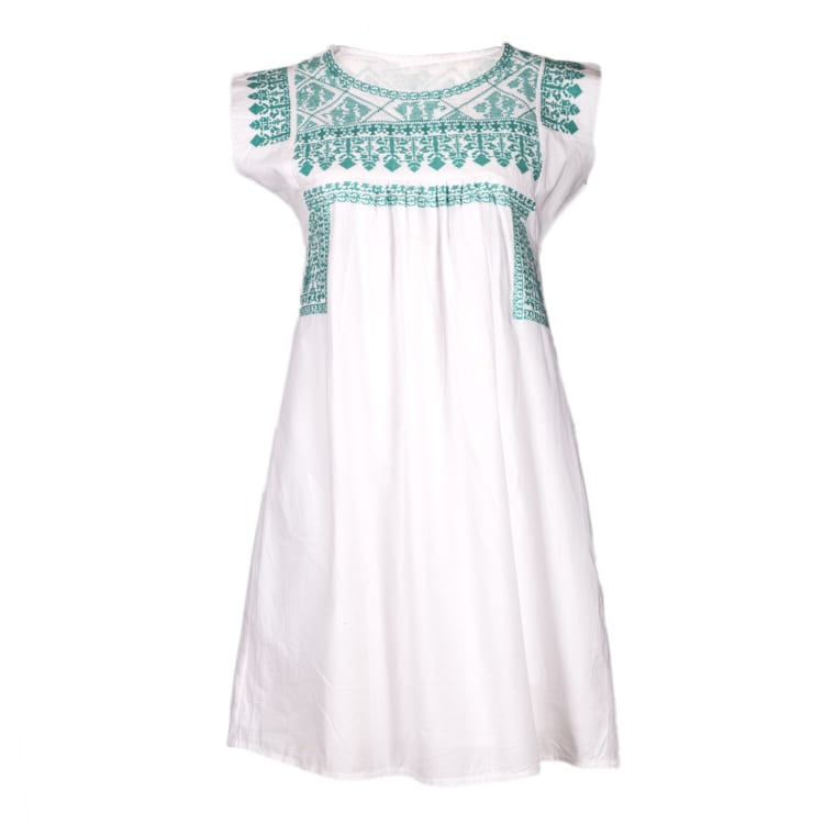 Hand Embroidered Aqua Gypsy Dress for women is made of organic cotton. It has range of beautiful soft aqua colors set on a white background. Buy fair trade. From Beshlie Mckelvie.