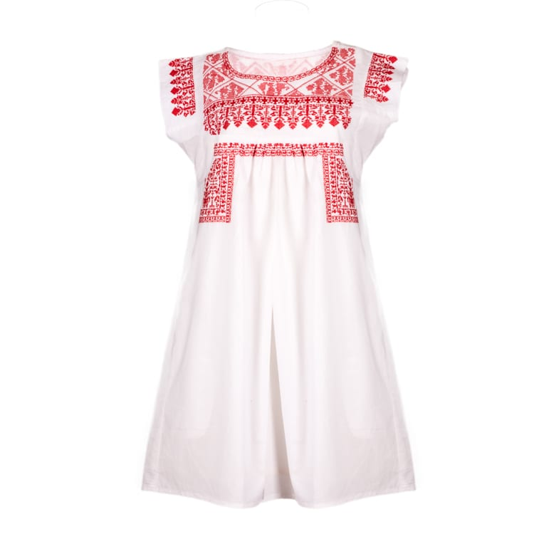 Fall in love with this red & white gypsy dress for women. This artisan made organic cotton dress is fair trade. Support ethical fashion with Beshlie.