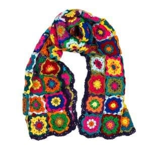 Syrian Hand Crotchet Shawls. Colourful hand made fair trade scarves from Beshlie. Pair with your favorite outfit and bring a splash of colour.