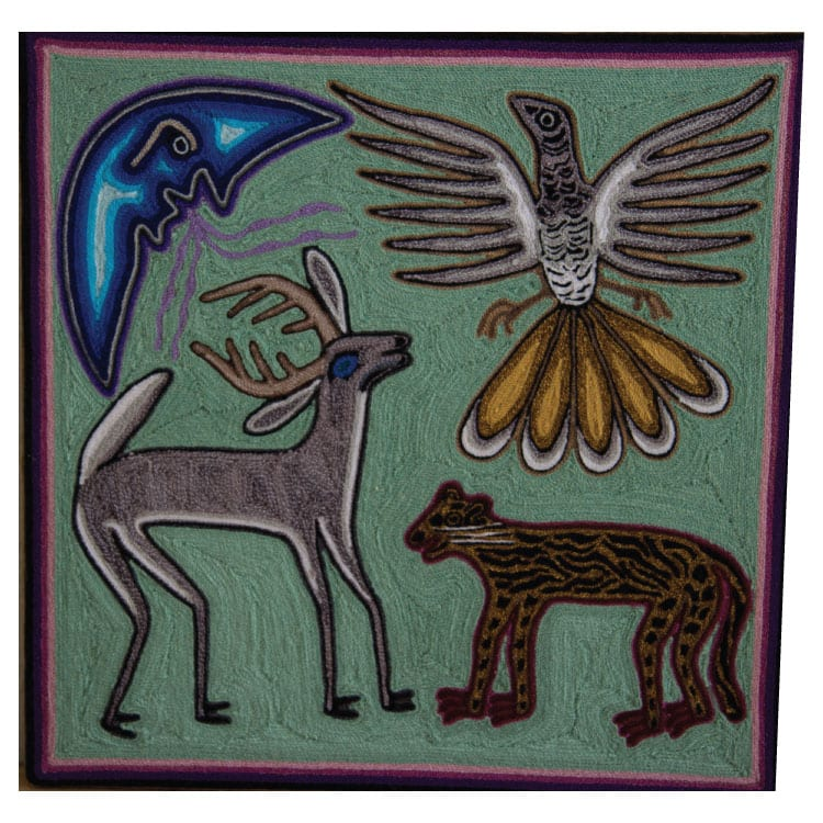 Traditional Huichol art yarn painting featuring a nature motif with jaguar, eagle & deer. Buy fair trade Mexican textiles & support Huicol communities.
