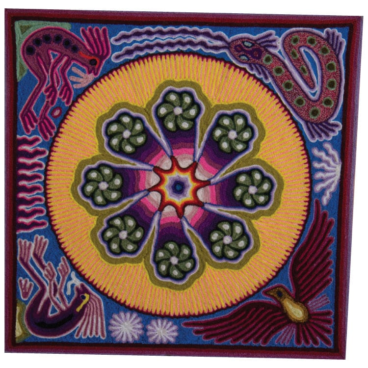 Stunning traditional Huichol art yarn painting featuring nature surrounding a circle. Buy fair trade Mexican textiles & support Huicol communities.