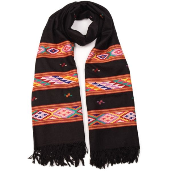 Handwoven himalaya scarf in black with colourful pattern