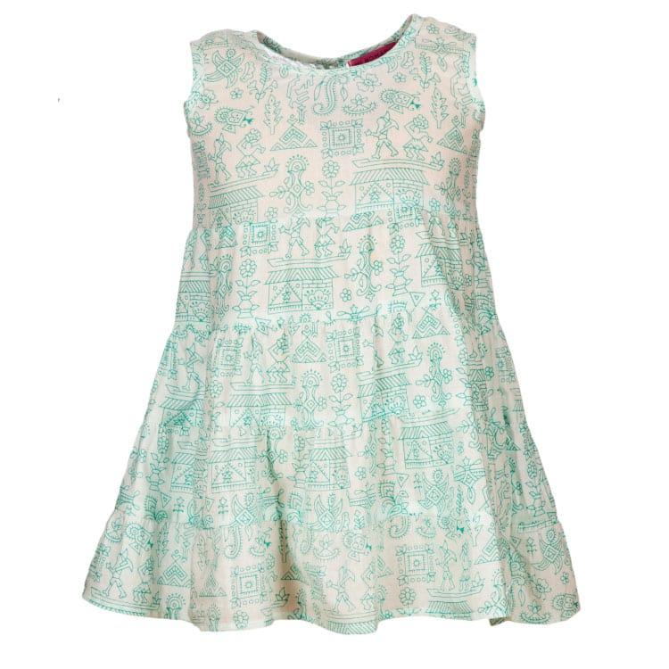This pretty Hand Printed Mariposa summer dress for girls is printed on a very soft fabric made up of 100% cotton. Gentle on your little one's skin.