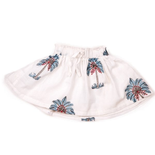 Made up of 100% cotton this Mini Nomadic Playa Print Skirt is Hand Block printed with cute blue palms making it adorable for your little one. From Beshlie Mckelvie.