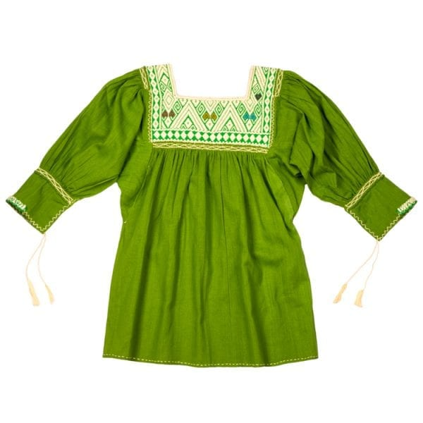 This olive Mexican Peasant mini dress for children has beautiful hand embroidery beautifully around the neck and cute hanging tassels at the sleeves.