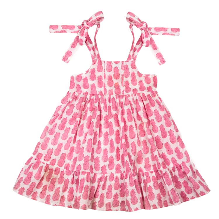 Hand Block Printed Pink Pineapple Dress