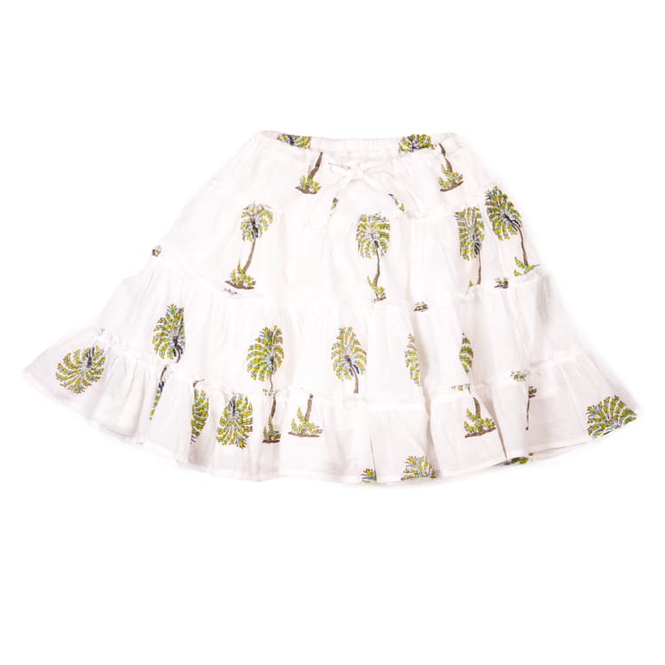 With beautiful green palm print on a white base, this Gypsy Girl Mini Skirt is a true show-stopper for your kids. Ethical children's skirts and dresses. From Beshlie Mckelvie.