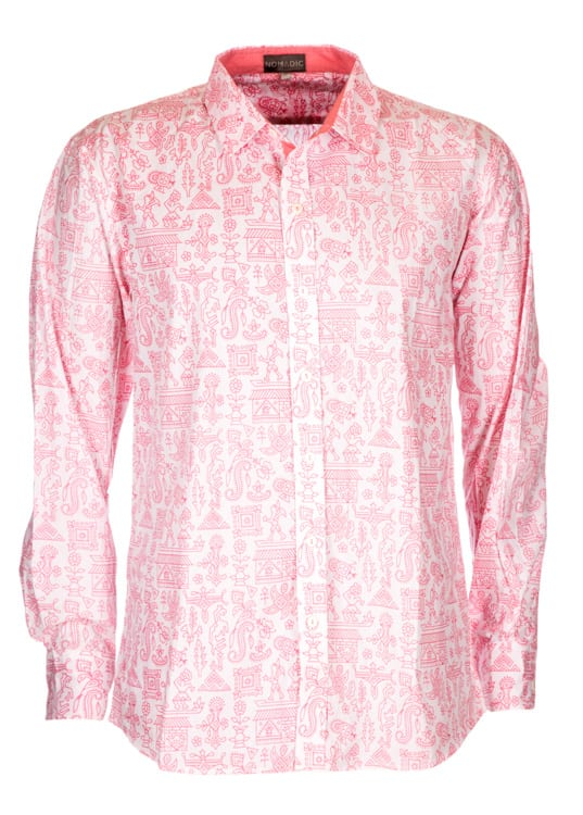 The Nomadic Warli Printed Shirt with salmon pink pattern is a perfect blend of design & modern fashion. 100% soft khadi cotton, stylish & comfortable.