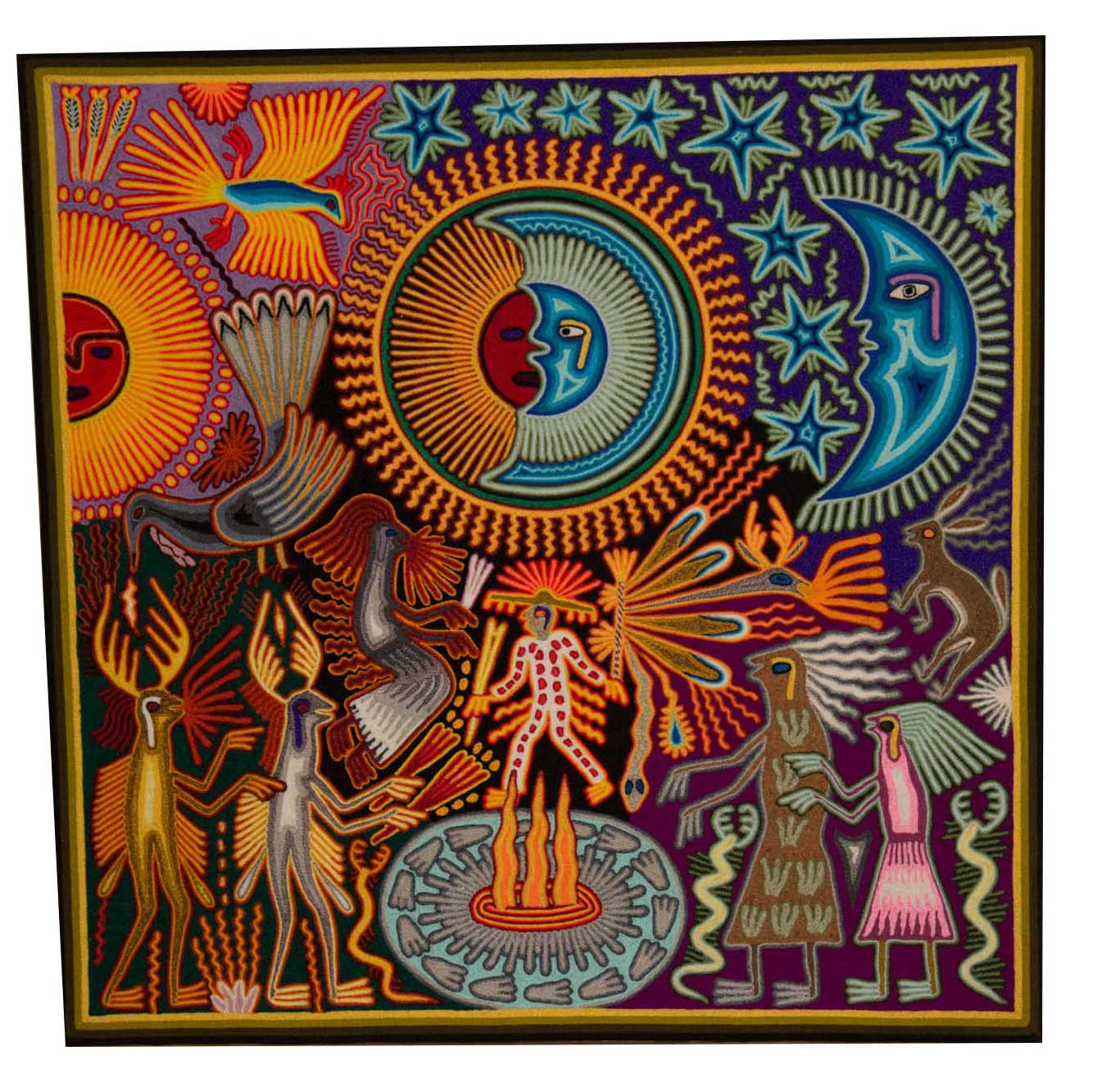Stunning traditional Huichol art yarn painting featuring the sun and moon. Buy fair trade Mexican textiles & support local Huicol communities.