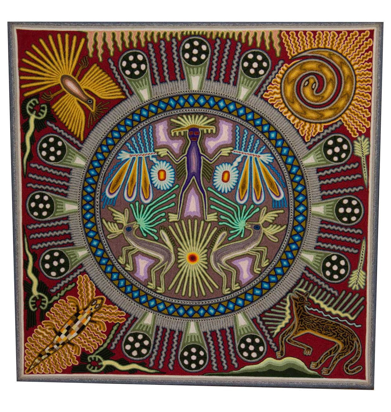 Stunning traditional Huichol art yarn painting featuring a magical circle full of nature. Buy fair trade Mexican textiles & support Huicol communities.