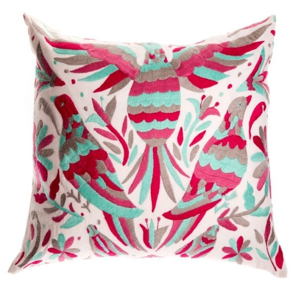 Otomi Cushions have magical patterns. This Mexican cushion features birds in pink and aqua colours. Fair trade, stunning cushions for your home.