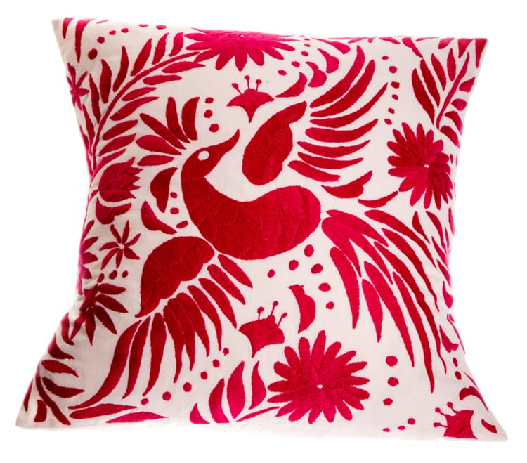 This Otomi Cushion with a Red bird and floral print on a neat white base will be the stand out feature of your home. Buy fair trade Mexican cushions today!