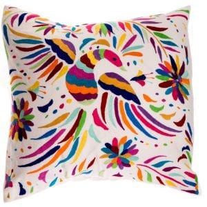 The Otomi Rainbow Bird Cushion is breathtaking. Hand embroidered in the traditional tenango style by Otomi Indians in Mexico. Buy fair trade today.