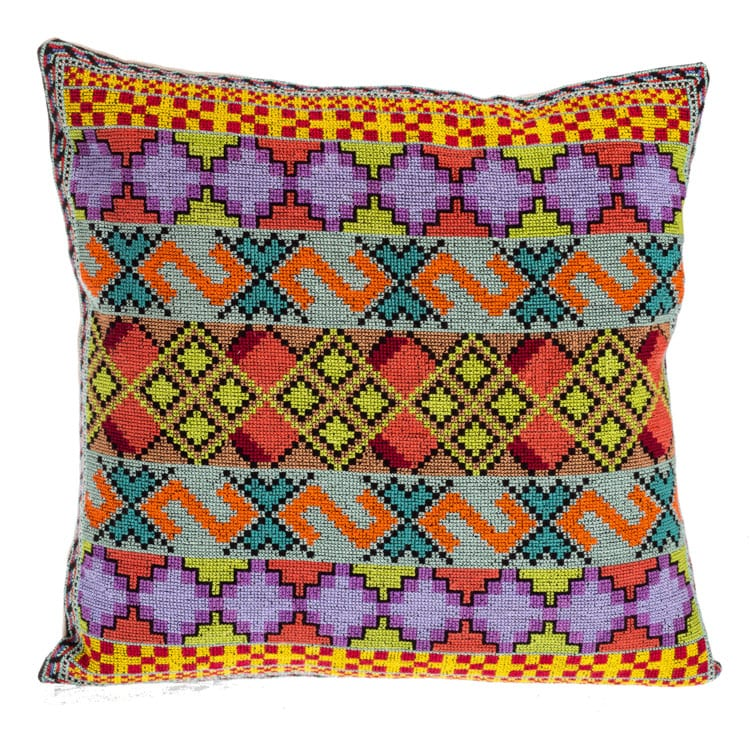 Beshlie is perfect for shopping Syrian Cushions. This cushion has a unique pattern and colour combination of purple & yellow hand stitched art.