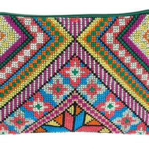 Fair trade colourful purse from Syria embroidered in purples