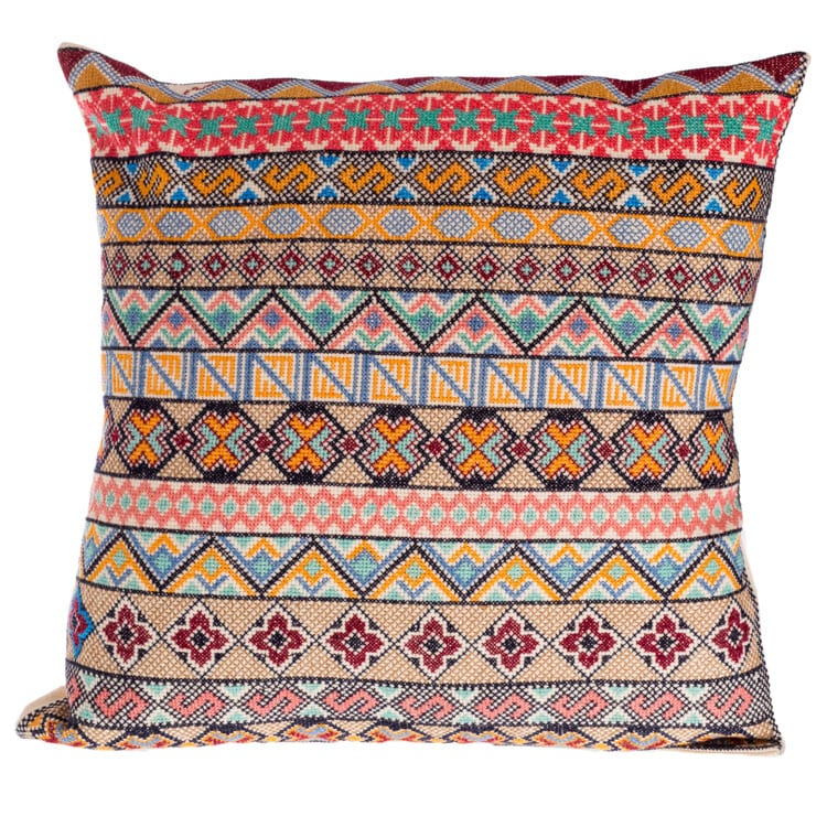 The best Syrian Cushions online. This cushion is created with cool hues in a band pattern, it is 100% Cotton front with premium heavyweight linen back.