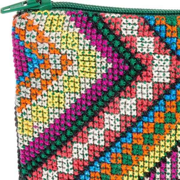 Close up of colourful embroidery stitched design chevrons