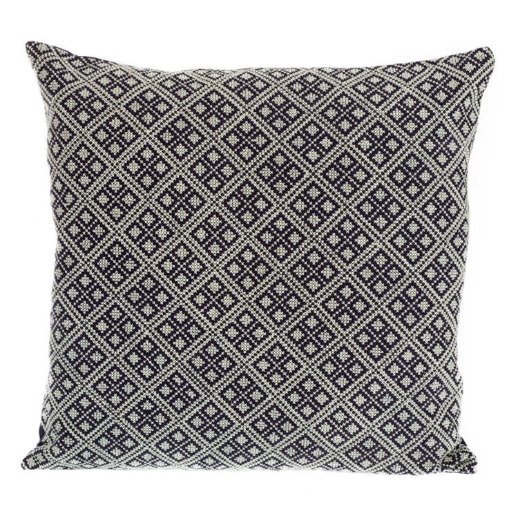 Get the best Syrian Cushions online. This cushion is 100% cotton front with premium heavyweight linen back with a stunning dark geometric cube pattern. From Beshlie Mckelvie.