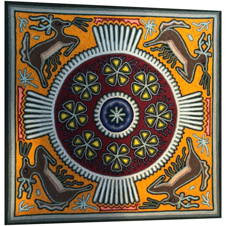 Stunning traditional Huichol art yarn painting featuring deer around a circle. Buy fair trade Mexican textiles & support local Huicol communities.