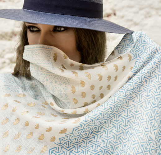Model covers face with fairy tale scarf