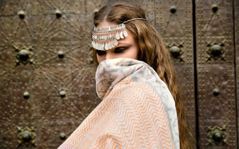 Model covers face with beautiful Beshlie Mckelvie scarf