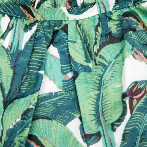 Elastic band of the Rain Forest Skirt for Girls with beautiful print and motif. The soft elastic at waist makes it easier for your little one to wear with comfort. From Beshlie Mckelvie.