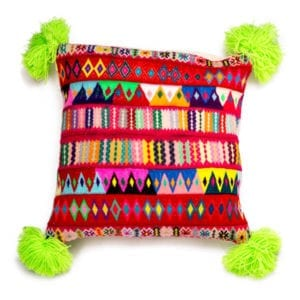 Peruvian Pom Pom Green Cushion