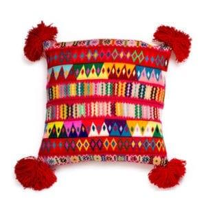 Peruvian Pom Pom Cushion Red
