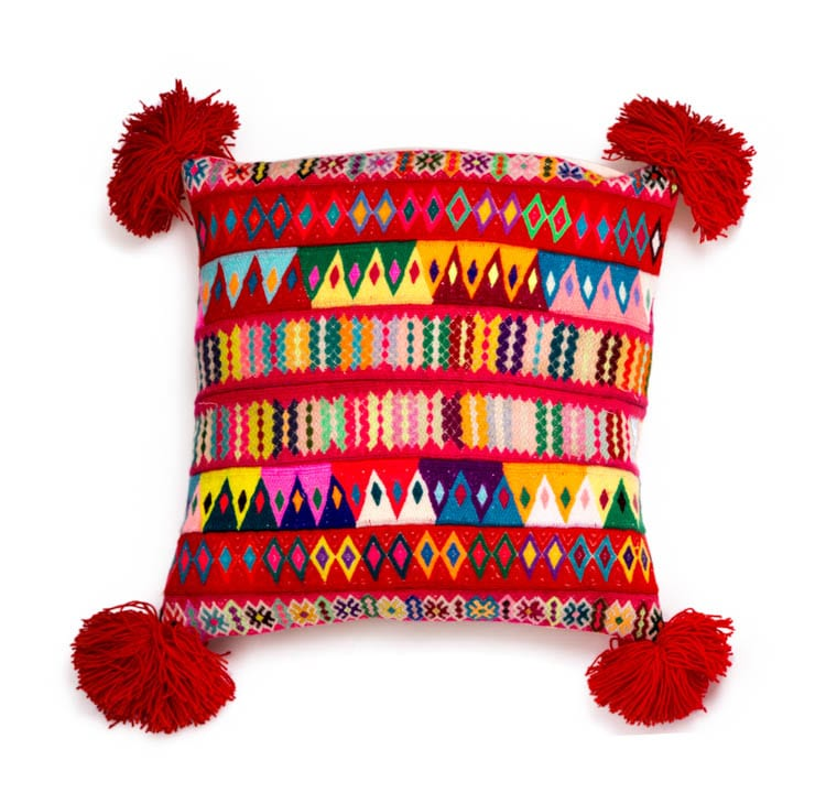 Peruvian Pom Pom Cushion Red