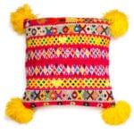 Peruvian Pom Pom Cushion Yellow