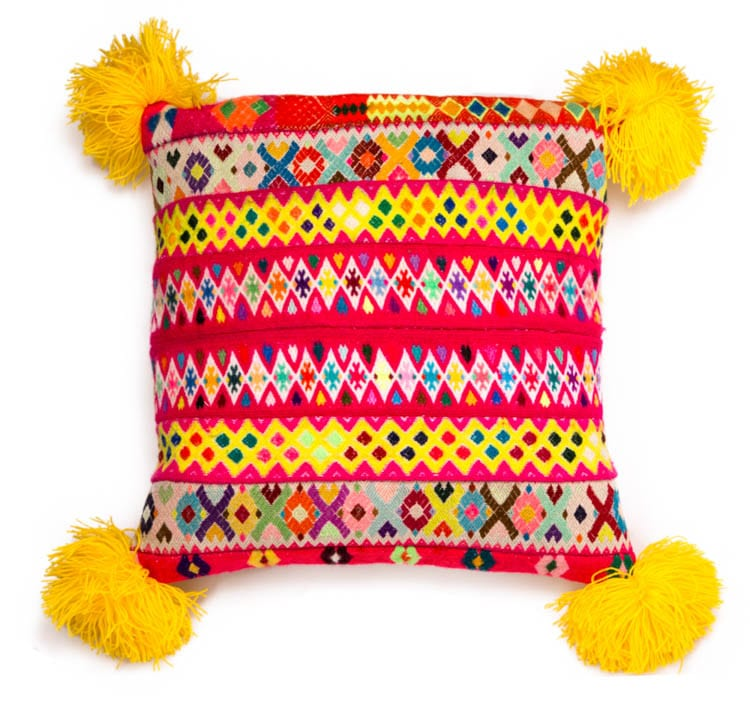 Peruvian Pom Pom Cushion Yellow