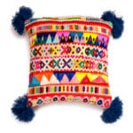 Peruvian Pom Pom Cushion Blue