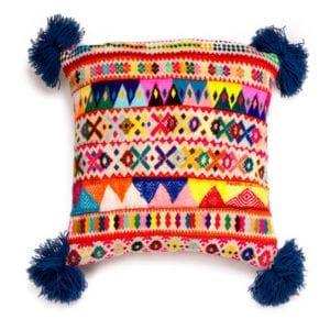 Peruvian Pom Pom Cushion Blue