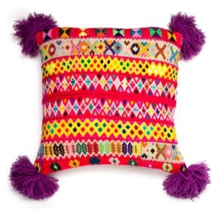 Peruvian Pom Pom Cushion Purple