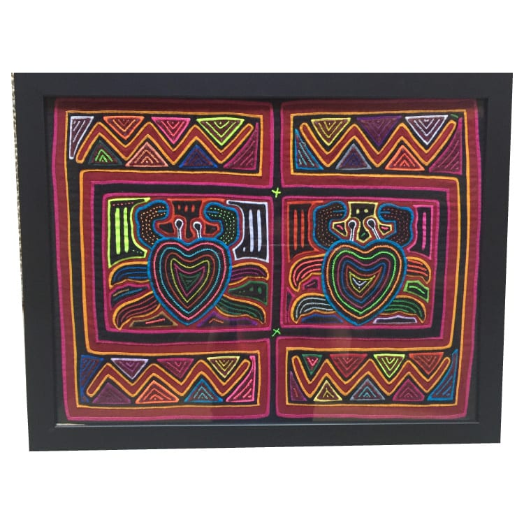 Created by Kuna women, molas are a traditional art form hand made with layers of cloth. This textile features a marine motif with crabs embroidered. From Beshlie Mckelvie.