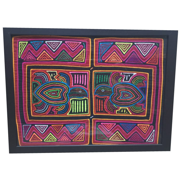 Created by Kuna women, molas are a traditional art form hand made with layers of cloth. This textile features a marine motif with turtles embroidered. From Beshlie Mckelvie.