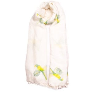 Paradise parrot dupatta is made in Southern India. Scarves are hand dyed & block printed with a beautiful yellow bird. Each tassel is hand sewn. From Beshlie Mckelvie.