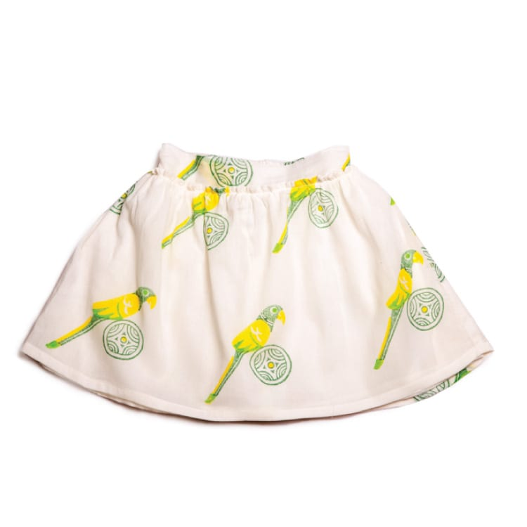 Grab this Mini Nomadic Parrot Print Skirt only at Beshlie from the children's range. Kids will love the bright coloured parrot printed on a soft base.