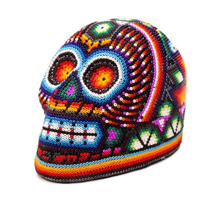 Colourful Calavera Huichol. The Mexican beadwork in Huichol art work uses traditional patterns that have been used for centuries communicate with the gods. From Beshlie Mckelvie.