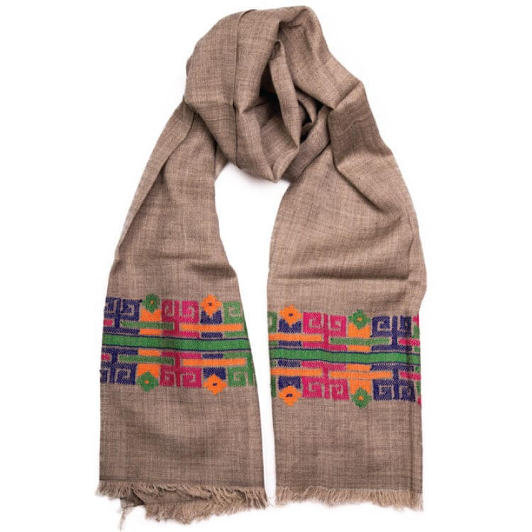 The Toltec hand woven stunning shawl is the perfect companion. Hand woven & luxurious 80% wool, 20% Pashmina. It that can be styled in a number of ways. From Beshlie Mckelvie.
