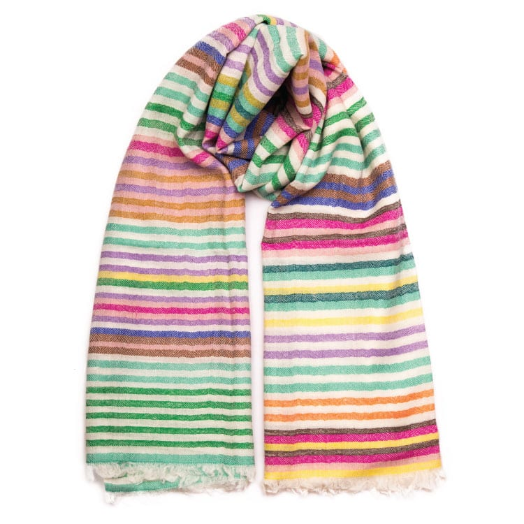 The Winter Rainbow shawl is handwoven in all the beautiful colours of the spectrum. A timeless shawl in the softest hand spun cashmere in the Himalaya's. From Beshlie Mckelvie.