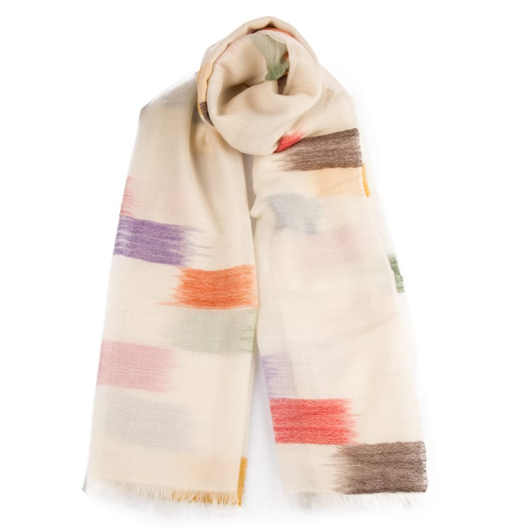 Carousel is a timeless shawl in the softest hand spun cashmere of the finest quality. Traditionally handwoven in Nepal with watercolour brushstroke design. From Beshlie Mckelvie.