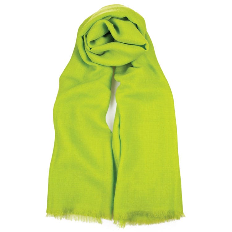 This is an elegant and very pretty lime coloured cashmere scarf. The cashmere warm and luxurious of all the wool from the Capra Hiscus goat in Mongolia. From Beshlie Mckelvie.