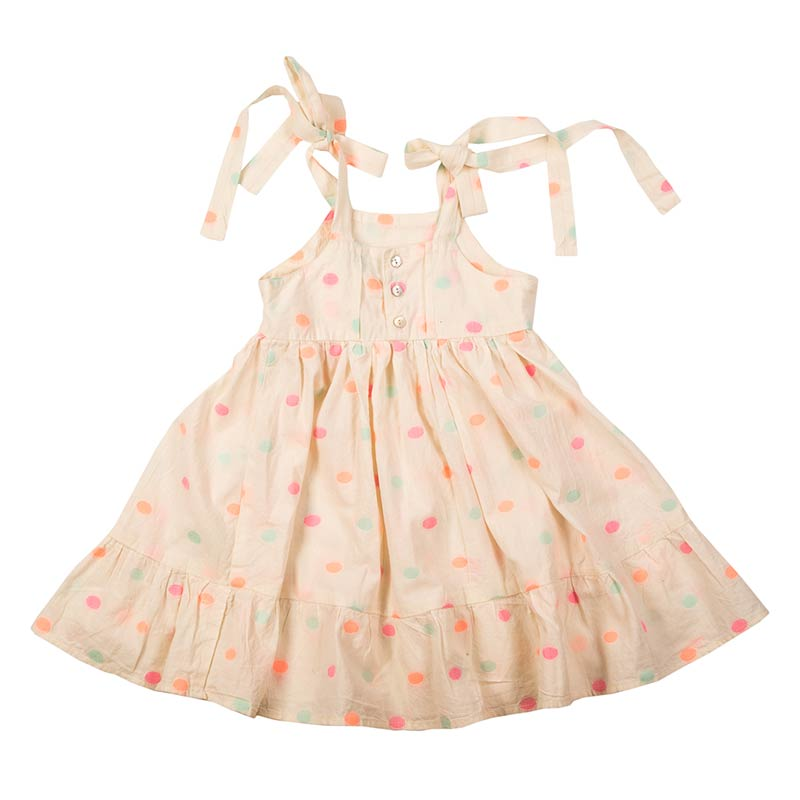 Sweet pea children's dress is our classic mini nomadic dress made with 100% cotton. Pastel coloured with adjustable ties & mother of pearl button. From Beshlie Mckelvie.
